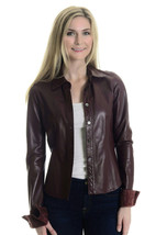 2 Authentic Coach Oxblood Collared Leather Long Sleeve Button Up Unlined... - $295.02