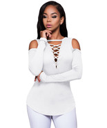 White Long Sleeve Cut-out Shoulder Ribbed Top  - $18.23