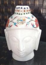 Buddha Meditating Head Statue Stone Inlay Work 5 INCH White Marble - $32.92