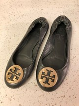 TORY BURCH BLACK REVA GOLD BALLET FLAT 6 - $70.13