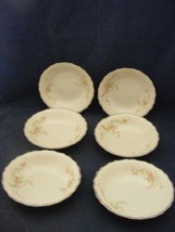 "6 Canonsburg Pottery Keystone Pink Roses Gold Trim 5 1/8"" Fruit bowls - $29.95"