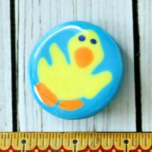 vintage blue art glass yellow duck brooch pin odd animal cute bird - $9.89