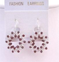 Siam Red Passion Crystals Hoop Earrings Japanese Glass Beads Earrings - $26.38