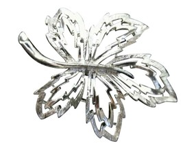 Vintage Silver Toned Brooch Pin Costume Jewelry Leaf Large Maple - $16.82