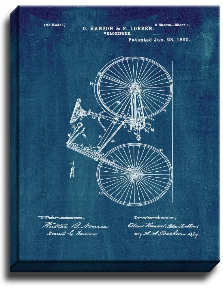 Primary image for Velocipede Patent Print Midnight Blue on Canvas