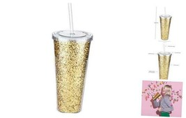 Glam Double Walled Glitter Tumbler by  | Reusable Travel, Plastic, Slim,... - $25.36