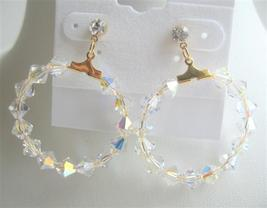 Swarovski AB Bicone Crystals in 22k Gold Plated Hoop Earrings - $21.18