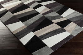 5x8 Plush Contemporary Modern Abstract Black Gray Hand Tufted Area Rug - €304,07 EUR
