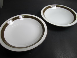 Mikasa Metro White Brown Rimmed Soup Bowls  Set of 2  L4825 - $7.00