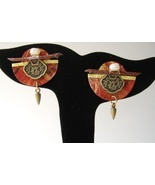 Red Gold Circles Post Earrings Coin Pearl Handcrafted Paper Asian Drop - $71.00