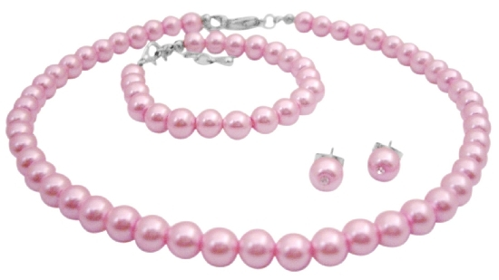 Personalized Jewelry For Flower Girl In Baby Pink Complete Set