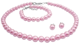 Personalized Jewelry For Flower Girl In Baby Pink Complete Set - $13.38