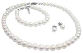 Customize Baptism Jewelry In Your Color & Size White Pearls Set - $13.38