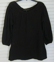 BCBG 3/4 Sleeve Scoop Neck BOHO Shirt w/ Ruffle Trim Shoulder Detail sz M - $17.80
