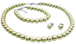 Wedding Flower Girl Jewelry In Beautiful Pistachio Pearls Jewelry - $13.38
