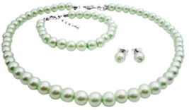 Customize Flower Girl Jewelry Gorgeous Lite Green Pearls Jewelry - $13.38