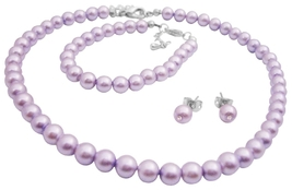 Gorgeous Smashing Stylish Pearls Jewelry Complete Set in Purple Color - $13.38