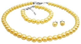 Elegant Wedding Accessories Flower Girl Jewelry In Yellow Pearls - $13.38