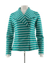 Isaac Mizrahi French Terry Knit Motorcycle Jacket Teal Green XS NEW A286327 - $45.52