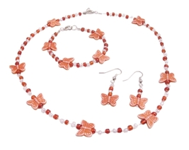 School Girls Fancy Jewelry White Orange Beads Orange Butterfly Beads - $9.48