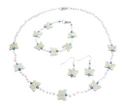 Butterfly Beads Girls Fashion Jewelry Great Gifts For Girls Ivory Bead - $9.48