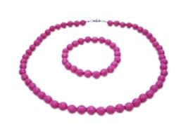 Fuchsia Beads 10mm Beads Necklae Stretchable Bracelet Christmas Gift - $9.48