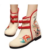 Vintage Beijing Cloth Shoes Embroidered Boots 12-01   beige  35 - $37.99