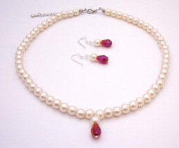 Flower Girl Jewelry Faux Pearls Ivory Pearl with Teardop Jewelry - $12.73
