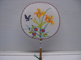 Butterfly Silk Palace Hand Fan, Hand Painted Handheld Fans n32 - $9.99
