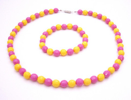 Exclusively Lovely Flower Girl Jewelry Pink & Yellow Multifaceted Bead - $10.78