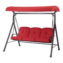 Three-Seat Capacity Canopy Patio Swing with Brick Red Cushions - $240.00