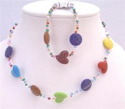 Multicolored Heart Multicolroed Round Flat Beads Girls Return Jewelry - $8.18