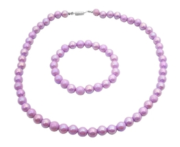 Girls Jewelry Gift Purple Round Beads Necklace Bracelet Christmas Gift - $9.48