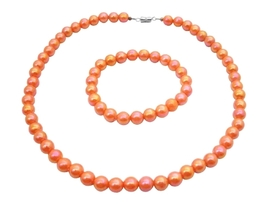 Orange Round Beads 10mm Shnny Beads Girls Inexpensive Jewelry Necklace - £6.80 GBP