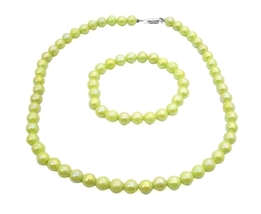 Light Green Parrot Green Girls Jewelry Round Beads Cool Color Jewelry - $9.48