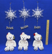 Christmas Teddy Bear White Snowflake Ornament Glitter Word Ornament Lot ... - $15.04