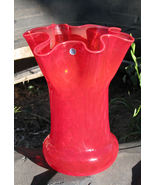 Vintage Red Art Glass Vase Made in Italy  - $45.00