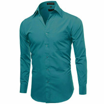 Omega Italy Teal Classic Fit Standard Cuff Solid Dress Shirt - 3XL image 2