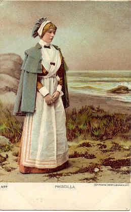 Priscilla A Pilgrim lady 1906 vintage Post Card