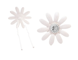 Ivory Flower Hair Pin w/ Clear Crystals Girls Beautiful Hair Jewelry - $8.83