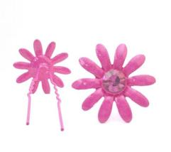 Girls Jewelry Fuchsia Flower Hair Pin Matching Crystals Jewelry Gift - $8.83