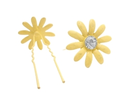 Hair Pin To Yellow Dress Flower Hair with Jonquil Crystal Hair Jewelry - $8.83