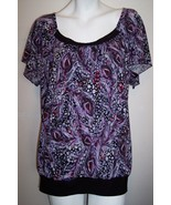 Suzie in the City Top 3X Artsy Purple Stretch Knit Tunic Shirt Blouse Bu... - $12.23