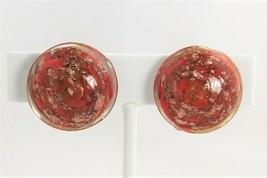 ESTATE VINTAGE Jewelry MURANO RED & COPPER AVENTURINE SWIRL CLIP EARRINGS - $15.00