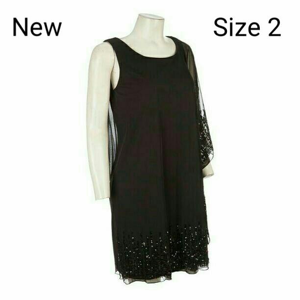 5beabfdfdc7 NEW Sz.2 Black Sheer Overlay Shoulder short Dress by Onyx. Size 2. NWT -   32.00