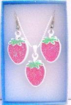 Strawberry Pendant Earrings Jewelry Set w/ Gift Box - $10.13