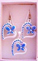 White Pendant Blue Flower Inside Heart Girls Jewelry Set w/ Gift Box - $10.13