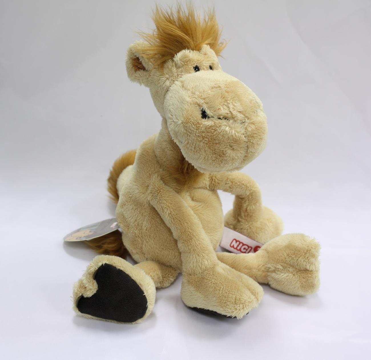 "NICI Camel Brown Beige Animal Plush Stuffed Animal Beanbag Dangling Camel 10"""