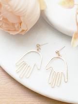 Abstract Earrings, Modern Earrings, Hands Earrings, Gold Statement Earrings - $11.88
