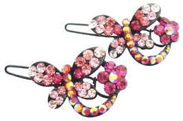 Stylish Cute Butterfly Hair Clip In Fuchsia Rose & Clear Crystals - $8.18